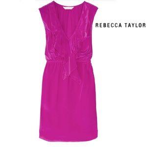 Rebecca Taylor pink silk waterfall ruffle dress